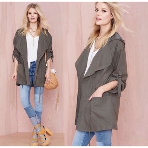 Audrey 3+1 Green Utility Jacket Hooded Coat NWOT